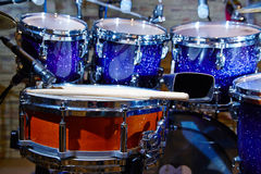 Drums set and sticks, close-up Royalty Free Stock Photography