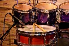 Drums set and sticks, close-up Stock Image