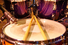 Drums set and sticks, close-up Royalty Free Stock Image