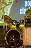 Drums on the stage. Drum kit on the stage Royalty Free Stock Photos
