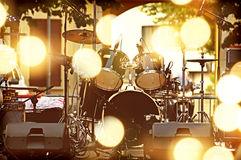 Drums on stage. In the city Stock Images