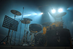 Drums stand on the stage Stock Photos