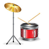 Drums with sticks and cymbal. Isolated on white Royalty Free Stock Images