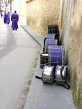 Drums on the street,Rubielos de Mora, Gudar mountains ,Teruel ,Aragon, Spain Stock Images