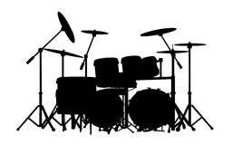 Drums. Vector drum kit silhouette on white background Stock Photos