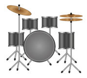 Drums. Vector illustration of  gray drum kit isolated on white. Eps format is available Stock Images