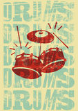 Drums vintage style grunge poster. Retro typographical vector illustration. Stock Images