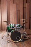 Drums on wooden background Royalty Free Stock Images
