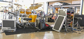 Drumset. With amplifiers on stage Royalty Free Stock Photos