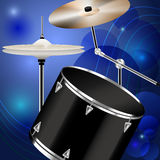 Drumset. Drum and percussion on blue abstract background Stock Photography