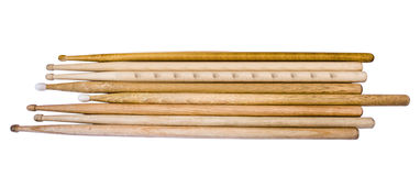 Drumstick. Isolated old drumsticks on a white background Stock Image