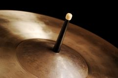 Drumstick and Cymbal Stock Images