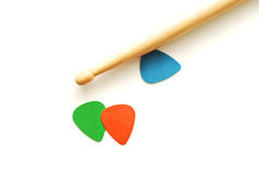 Drumstick and guitar picks Royalty Free Stock Photography