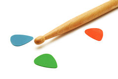 Drumstick and guitar picks Royalty Free Stock Photo