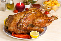 Drumstick Of Baked Goose With Green Beans,potatoes Stock Photo