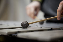 Drumstick strikes the vibraphone Royalty Free Stock Image