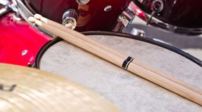 Drumsticks. On a drum before a concert stock image