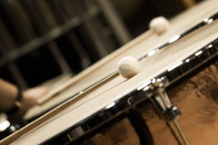 Drumsticks lying on timpani Stock Images