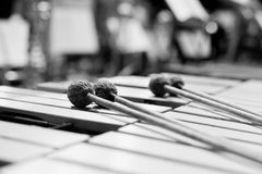 Drumsticks lying on the vibraphone Royalty Free Stock Photos