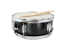 Drumsticks and Snare drum. Snare drum and drumsticks on a white background (short depth of field Stock Photo