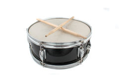 Drumsticks and Snare drum. Snare drum and drumsticks on a white background Stock Photography