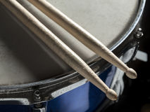 Drumsticks snare drum. Drumsticks resting on the snare drum, for music,entertainment themes Stock Images