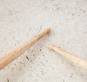 Drumsticks on used drum Royalty Free Stock Images