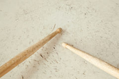 Drumsticks on used drum Royalty Free Stock Image