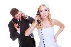 Drunk alcoholic groom, bride calling for help Royalty Free Stock Photos