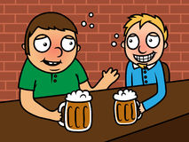 Drunk alcoholic men drinking beer in bar Stock Images