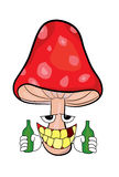 Drunk amanita cartoon Royalty Free Stock Image