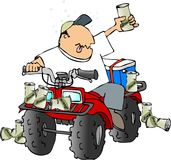 Drunk ATV rider. This illustration depicts a man riding an ATV with beer cans all around Stock Images
