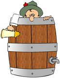 Drunk In A Barrel. This illustration depicts a drunk man peering out of a beer barrel stock illustration