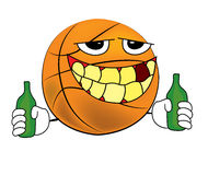 Drunk  Basketball ball cartoon Stock Image
