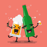 Drunk beer glass and bottle character. Vector illustration Royalty Free Stock Images