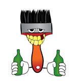 Drunk Brush cartoon Royalty Free Stock Image