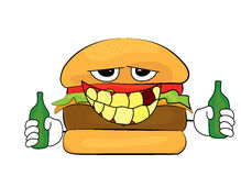 Drunk Burger cartoon Stock Photography