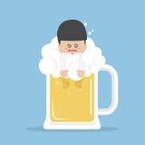 Drunk businessman in beer mug Stock Photography