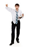 Drunk businessman with a bottle of cognac Royalty Free Stock Photo