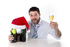 Drunk businessman happy drinking at christmas party Stock Photography