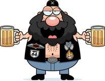 Drunk Cartoon Biker. A cartoon illustration of a biker looking drunk on beer Royalty Free Stock Photo