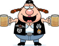 Drunk Cartoon Biker Woman Stock Image