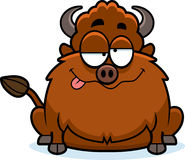 Drunk Cartoon Bison. A cartoon illustration of a bison looking drunk Royalty Free Stock Image