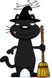Drunk Cartoon Black Cat Witch Royalty Free Stock Photography