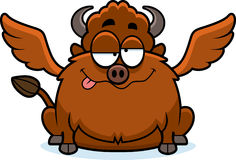Drunk Cartoon Buffalo Wings. A cartoon illustration of a buffalo with wings looking drunk Stock Photos