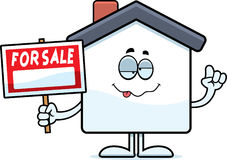 Drunk Cartoon Home Sale Royalty Free Stock Photography