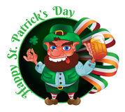 Drunk cartoon leprechaun holds in his hands the Shamrock and bee. R with the Irish flag isolated on white. Vector illustration for St. Patrick`s Day. Greeting Royalty Free Stock Photography