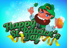 Drunk cartoon leprechaun holds in his hands the Shamrock and bee. R. Vector illustration for St. Patrick`s Day. Greeting card design Stock Photos