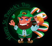Drunk cartoon leprechaun holds in his hands the Shamrock and beer. With the Irish flag. Vector illustration for St. Patrick`s Day. Greeting card design Stock Photography
