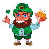 Drunk cartoon leprechaun holds in his hands the Shamrock and beer. Isolated on white background. Vector illustration for St. Patrick`s Day Stock Image
